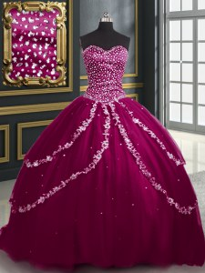 Elegant Burgundy and Fuchsia Sleeveless With Train Beading and Appliques Lace Up Sweet 16 Dresses