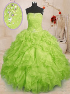 Extravagant Sleeveless Floor Length Beading and Ruffles and Ruching Lace Up Quince Ball Gowns with Yellow Green