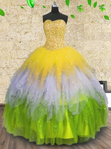 Multi-color Ball Gowns Beading and Ruffles and Sequins 15th Birthday Dress Lace Up Tulle Sleeveless Floor Length