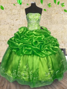 Unique Ball Gowns 15th Birthday Dress Strapless Organza Sleeveless Floor Length Lace Up