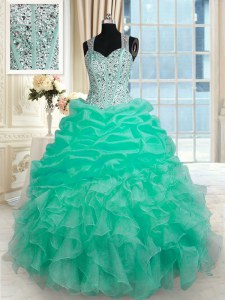 Stunning Turquoise Zipper Straps Beading and Ruffles Quinceanera Dress Organza Sleeveless