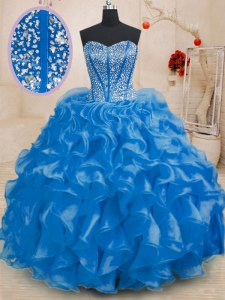 Luxury Floor Length Royal Blue Sweet 16 Quinceanera Dress Organza Sleeveless Beading and Ruffles