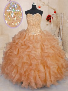 Fashion Sleeveless Lace Up Floor Length Beading and Ruffles Sweet 16 Dress