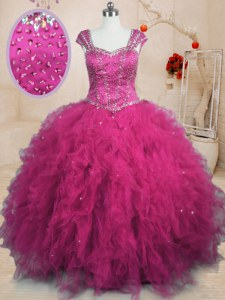 Tulle Square Cap Sleeves Lace Up Beading and Ruffles Sweet 16 Dress in Fuchsia