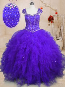 Spectacular Purple Ball Gowns Square Cap Sleeves Tulle Floor Length Lace Up Beading and Ruffles and Sequins Quinceanera Dresses