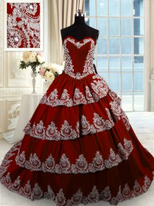 Taffeta Sleeveless With Train Quinceanera Dress Court Train and Beading and Appliques and Ruffled Layers