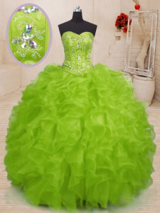 Superior Sweetheart Sleeveless Quinceanera Gown Floor Length Beading and Ruffles Yellow Green Organza