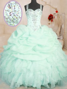 Apple Green Ball Gowns Straps Sleeveless Organza Floor Length Zipper Beading and Ruffles and Pick Ups Sweet 16 Dress