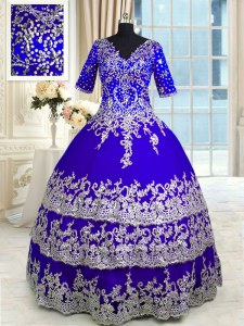 Blue Ball Gowns Appliques and Ruffled Layers Vestidos de Quinceanera Zipper Satin and Tulle Half Sleeves Floor Length