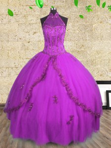Glamorous Halter Top Tulle Sleeveless Floor Length 15 Quinceanera Dress and Beading