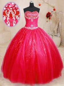 Lovely Floor Length Lace Up Quince Ball Gowns Red for Military Ball and Sweet 16 and Quinceanera with Beading