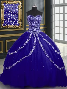 Shining Blue Lace Up 15 Quinceanera Dress Beading and Appliques Sleeveless With Brush Train