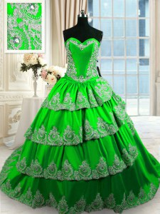 Taffeta Sweetheart Sleeveless Court Train Lace Up Beading and Appliques and Ruffled Layers Ball Gown Prom Dress in