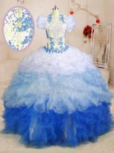 Multi-color Organza Lace Up Sweetheart Sleeveless With Train Vestidos de Quinceanera Beading and Appliques and Ruffles