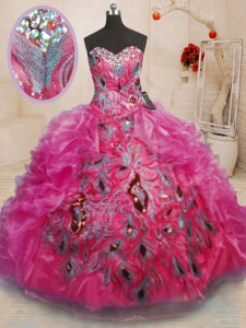 Hot Pink Sleeveless Floor Length Beading and Appliques and Ruffles Lace Up 15th Birthday Dress