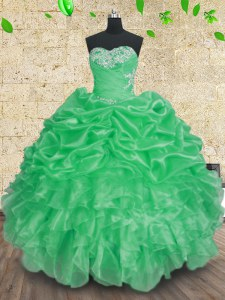 Customized Organza Sleeveless Floor Length Sweet 16 Dresses and Beading and Appliques and Ruffles and Ruching
