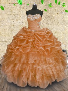 New Arrival Orange Ball Gowns Organza Sweetheart Sleeveless Beading and Appliques and Ruffles and Sequins Floor Length Lace Up Sweet 16 Dresses