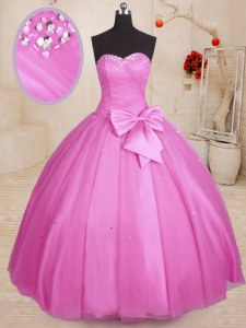 Lilac Quinceanera Gown Military Ball and Sweet 16 and Quinceanera and For with Beading and Bowknot Sweetheart Sleeveless Lace Up