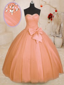 Floor Length Orange Sweet 16 Dress Sweetheart Sleeveless Lace Up