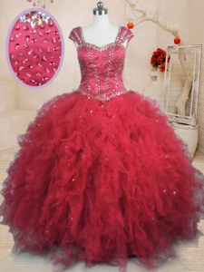 Pretty Red Cap Sleeves Floor Length Beading and Ruffles Lace Up Quinceanera Dress