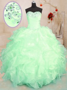 Floor Length Lace Up Quinceanera Gown for Military Ball and Sweet 16 and Quinceanera with Beading and Ruffles
