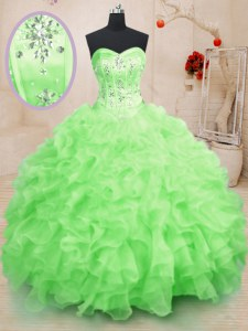 Modest Organza Sleeveless Floor Length Sweet 16 Quinceanera Dress and Beading and Ruffles