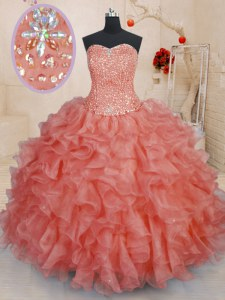 Nice Watermelon Red Sweetheart Neckline Beading and Ruffles 15 Quinceanera Dress Sleeveless Lace Up