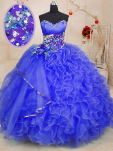 Affordable Ball Gowns Vestidos de Quinceanera Royal Blue Sweetheart Organza Sleeveless Floor Length Lace Up
