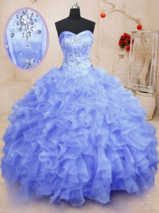 Latest Light Blue Sweetheart Lace Up Beading and Ruffles Quinceanera Dress Sleeveless