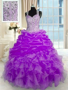 Ball Gowns Ball Gown Prom Dress Lilac Straps Organza Sleeveless Floor Length Zipper
