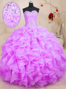 Pretty Floor Length Lilac Sweet 16 Dresses Sweetheart Sleeveless Lace Up