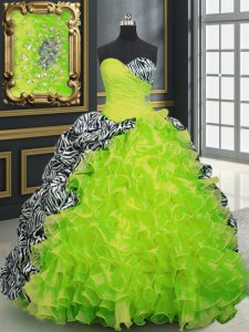 Exceptional Printed Yellow Green Lace Up Quinceanera Gown Beading and Ruffles and Pattern Sleeveless With Brush Train