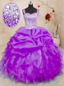 Charming Pick Ups Straps Sleeveless Lace Up 15th Birthday Dress Purple Organza