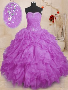 Cute Purple Ball Gowns Strapless Sleeveless Organza Floor Length Lace Up Beading and Ruffles and Ruching Vestidos de Quinceanera