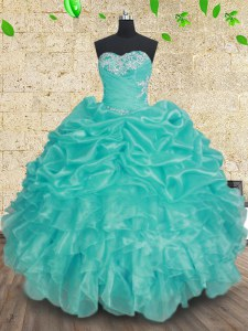 Ball Gowns Quince Ball Gowns Aqua Blue Sweetheart Organza Sleeveless Floor Length Lace Up