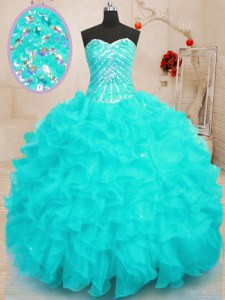 Aqua Blue Sweetheart Lace Up Beading and Ruffles and Sequins Quinceanera Dresses Sleeveless
