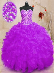 Purple Lace Up Sweetheart Beading and Ruffles and Sequins Quinceanera Gown Organza Sleeveless