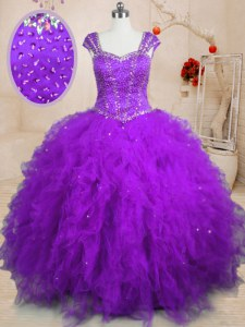Pretty Purple Ball Gowns Tulle Square Cap Sleeves Beading and Ruffles Floor Length Lace Up Sweet 16 Dresses