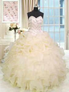 Perfect Sleeveless Beading and Ruffles Lace Up Quinceanera Dresses