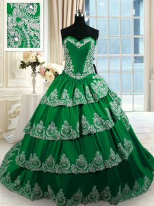 Charming Ruffled Sweetheart Sleeveless Court Train Lace Up Sweet 16 Dresses Dark Green Taffeta