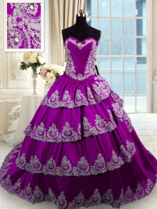 Free and Easy Sweetheart Sleeveless 15th Birthday Dress With Train Beading and Appliques and Ruffled Layers Eggplant Purple Taffeta