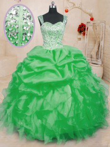 Charming Straps Sleeveless Sweet 16 Dress Floor Length Beading and Ruffles and Pick Ups Organza