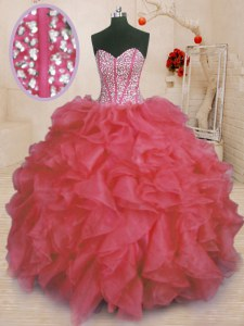 Coral Red Sleeveless Beading and Ruffles Floor Length Sweet 16 Quinceanera Dress