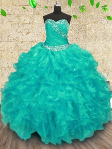 Sumptuous Organza Sweetheart Sleeveless Lace Up Beading Quince Ball Gowns in Turquoise