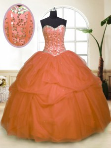 Orange Zipper Sweetheart Sequins and Pick Ups 15 Quinceanera Dress Tulle Sleeveless