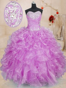 Popular Organza Sweetheart Sleeveless Lace Up Beading and Ruffles 15th Birthday Dress in Lilac