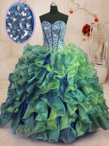 Smart Floor Length Lace Up 15th Birthday Dress Multi-color for Military Ball and Sweet 16 and Quinceanera with Beading and Ruffles