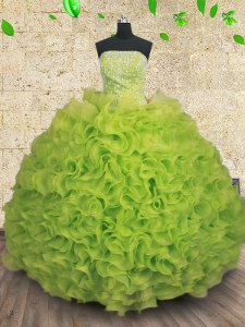 Strapless Sleeveless Lace Up Quince Ball Gowns Yellow Green Organza
