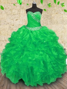 Dazzling Floor Length Lace Up Quinceanera Dresses Green for Military Ball and Sweet 16 and Quinceanera with Beading and Appliques and Ruffles and Ruching