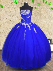 Delicate Royal Blue Lace Up Quinceanera Dress Appliques and Ruching Sleeveless Floor Length